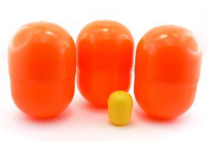 3 Super Maxi Ei Kapseln, die größten die es gibt in dunkelorange (14cm hoch und 9cm Durchmesser)