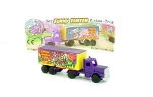 Truck Funny  Fannten in der Manege. Dach Lila wie Zugmaschine mit Beipackzettel