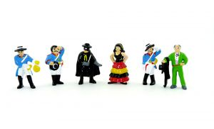 ZORRO Figurensatz. Alle 6 Figuren der Serie