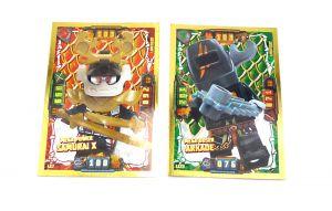 Lego Ninjago Serie 4 - 2x Limitierte Gold Karte Trading Card LE 6 Mega Power SAMURAI X und MEGA BÖSER ARKADE