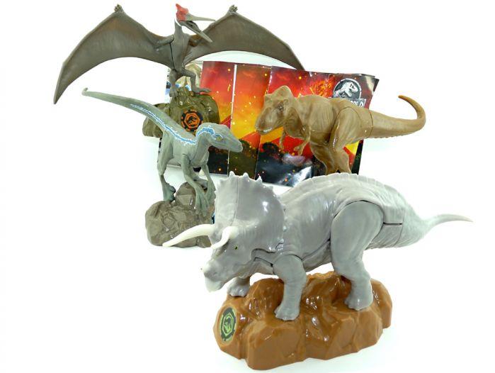 Jurassic World Figurensatz. Alle 4 Dinosauerier aus dem Maxi Ei