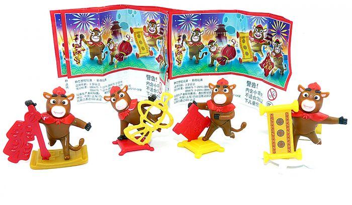Figuren Set der China Büffel - Ochsen. Die vier Büffel mit je ein Beipackzettel dazu