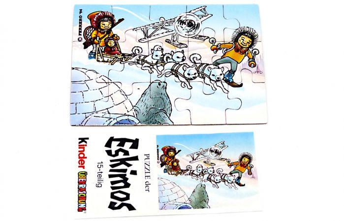 Eskimo Puzzleecke oben links mit Beipackzetteln von 1994