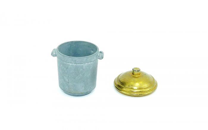 Topf mit Deckel - Eisen / Messing (Metall)