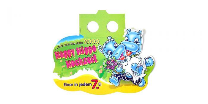 Palettenanhänger der Happy Hippo Hochzeit aus dem Jahr 2000
