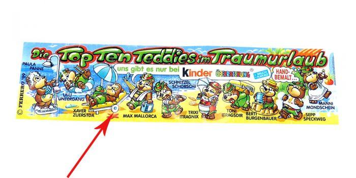 Die Top Ten Teddies im Traumurlaub Beipackzettel wo das Rad blau beamlt ist (siehe Pfeil).